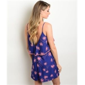New pink and blue palm tree dress / low back